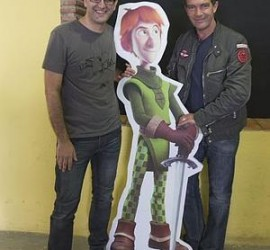 Fotografía del Antonio Banderas y el productor de Justin y la Espada del Valor una de las producciones candidatas para los premios Goya