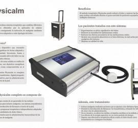 La imagen muestra una fotografía del producto Physicalm y a su lado texto con sus caracteristicas. Physicalm produce alivio contra el dolor en pacientes