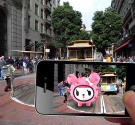 La calle de una ciudad vista con realidad aumentada a través de un móvil iPhone