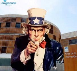 Tio Sam señalando con el dedo en referencia de que busca ingenieros y programadores en Granada. Tras el un edificio del Parque Tecnológico de la Salud de Granada