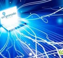 Un ordenador del que salen cables luminosos y representa la tendencia de las Pymes hacia el entorno tecnológico
