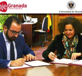 Melesio Peña (AJE Granada) y Pilar Aranda (UGR) formando el acuerdo para fomentar la tecnología y la I+D+i entre las empresas granadinas